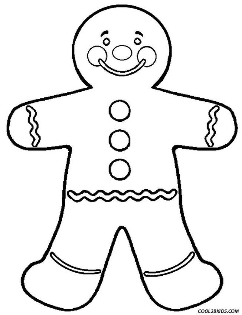 gingerbread man colouring pages