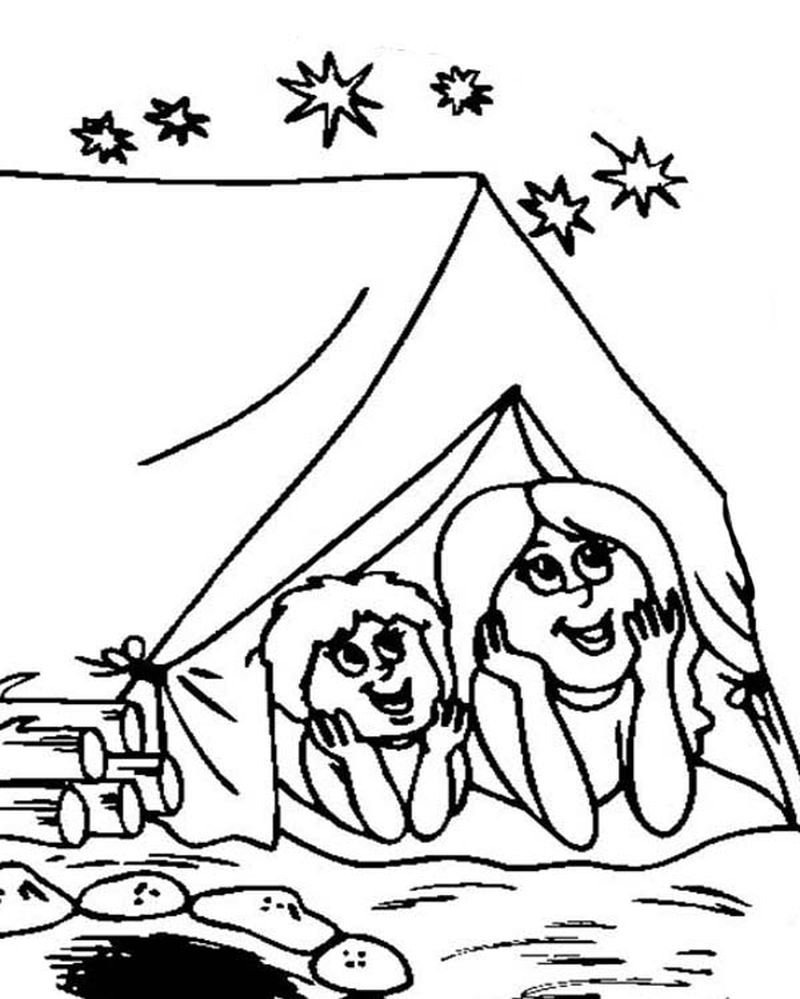 mickey mouse camping coloring pages