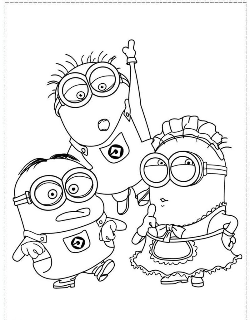 minion colouring pages printable