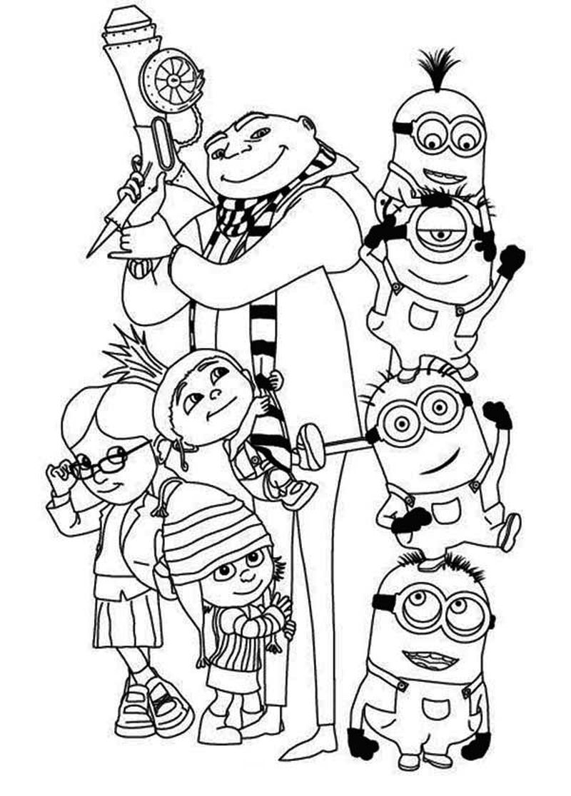 minions colouring pages printable