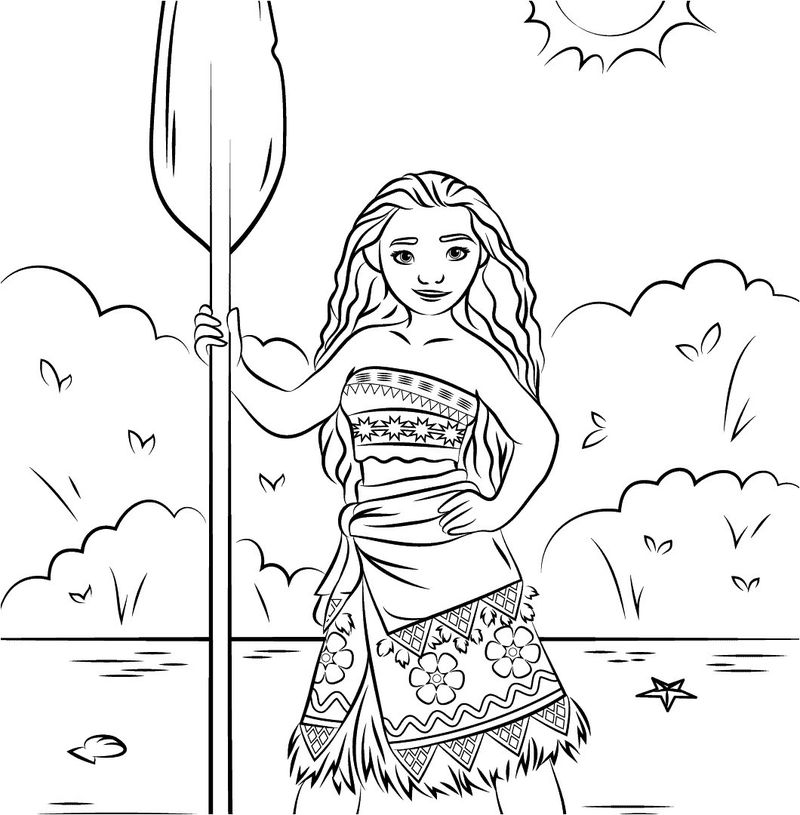 moana coloring pages colored