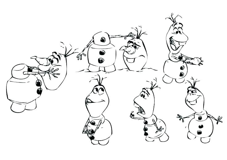 olaf colouring pages free