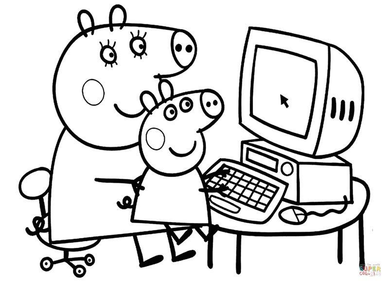 peppa pig blank coloring pages
