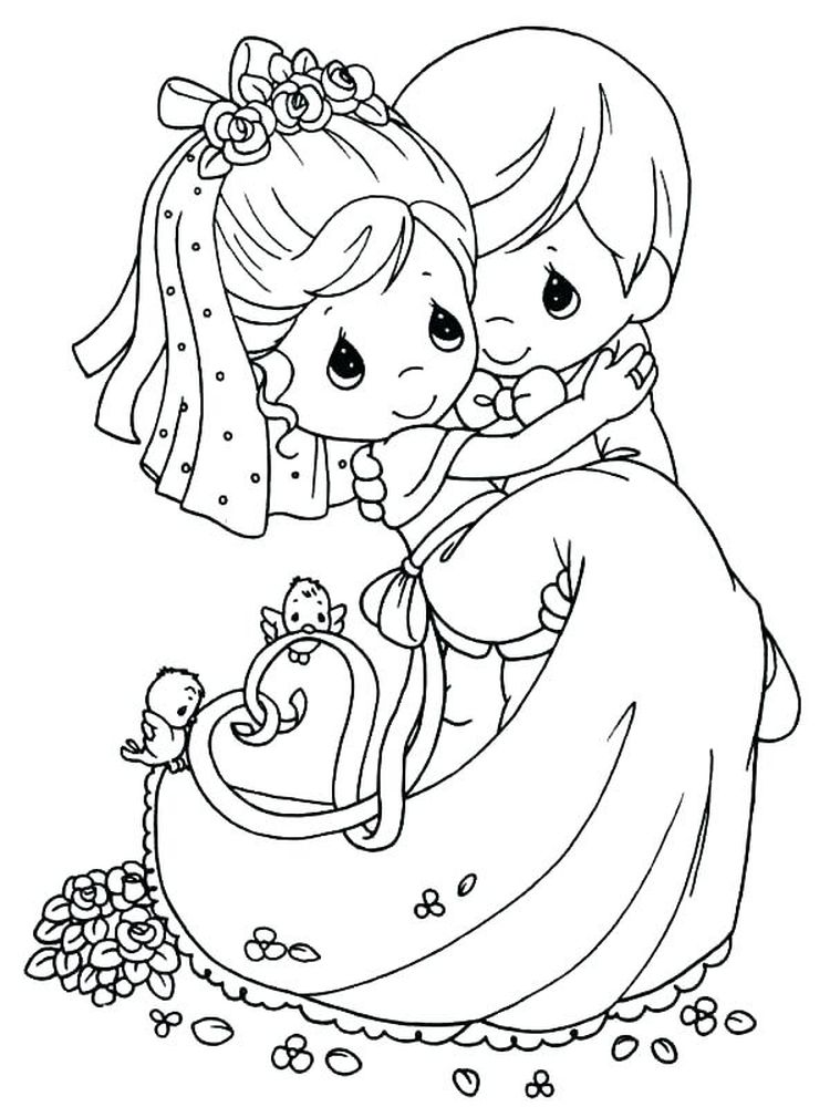 printable bride and groom coloring book pages to print