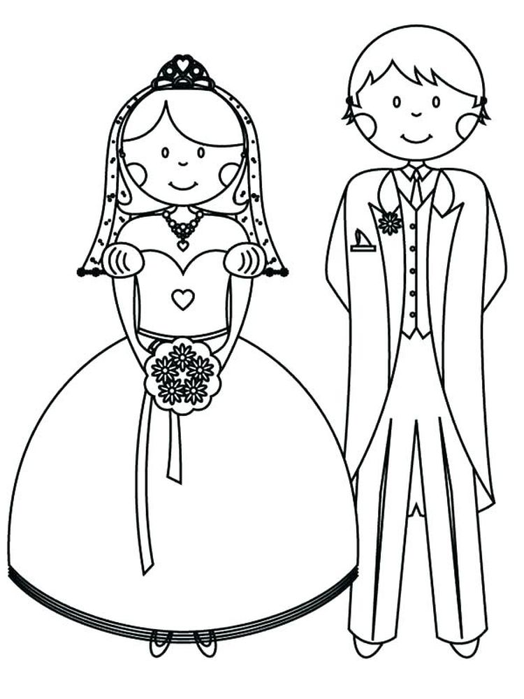 printable bride and groom coloring pages free