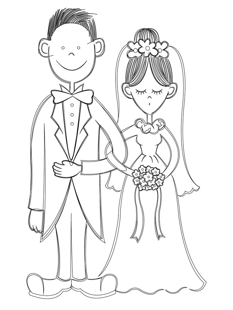 printable bride and groom coloring pages image
