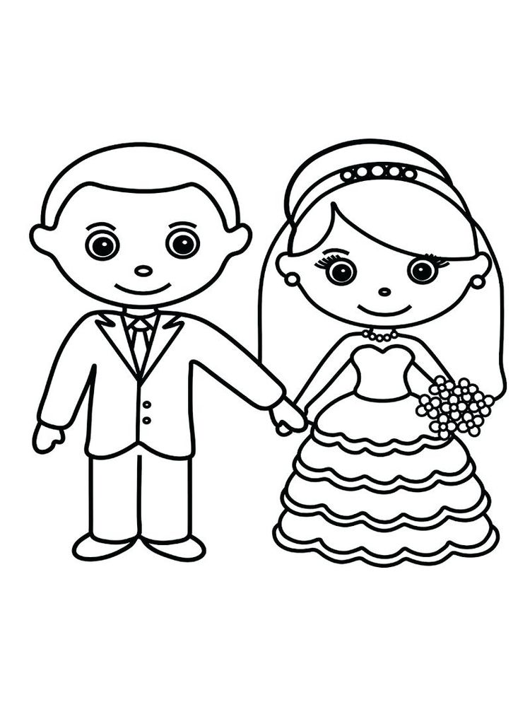 printable bride and groom coloring pages print