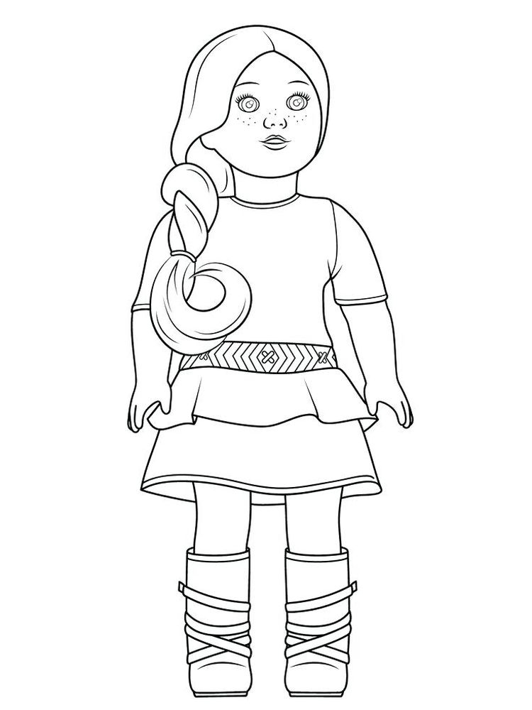 printable coloring page of a doll