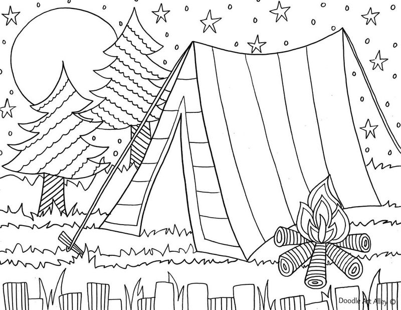 printable coloring pages for camping