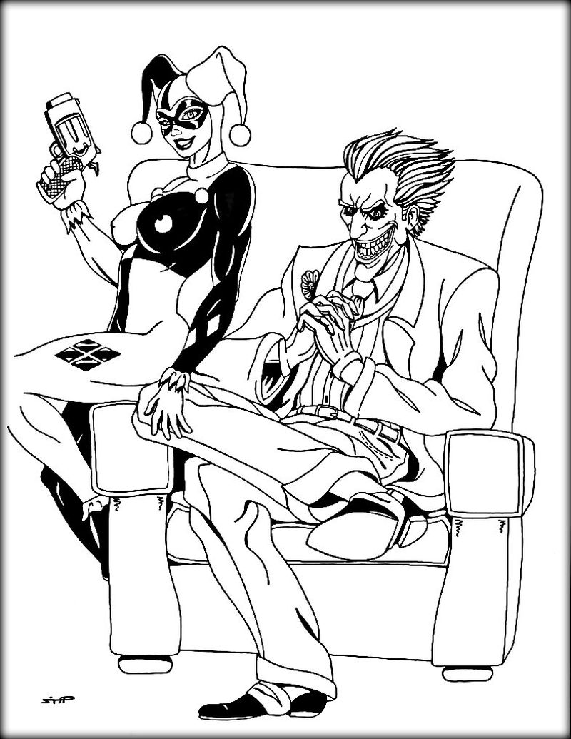 printable coloring pages of harley quinn