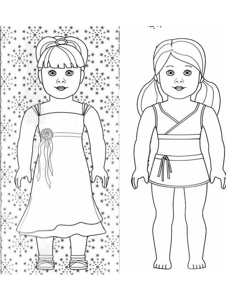 printable cute doll coloring pages