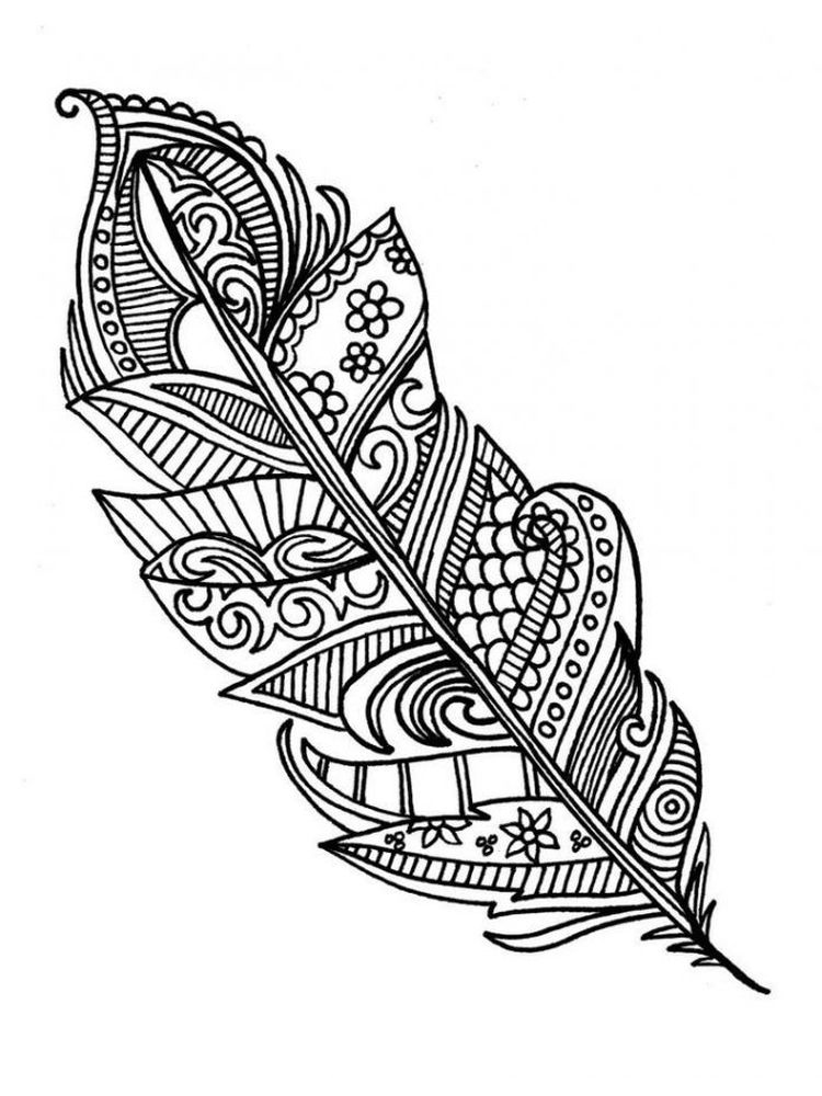 printable feather coloring page