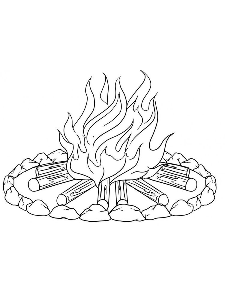 printable fire coloring page
