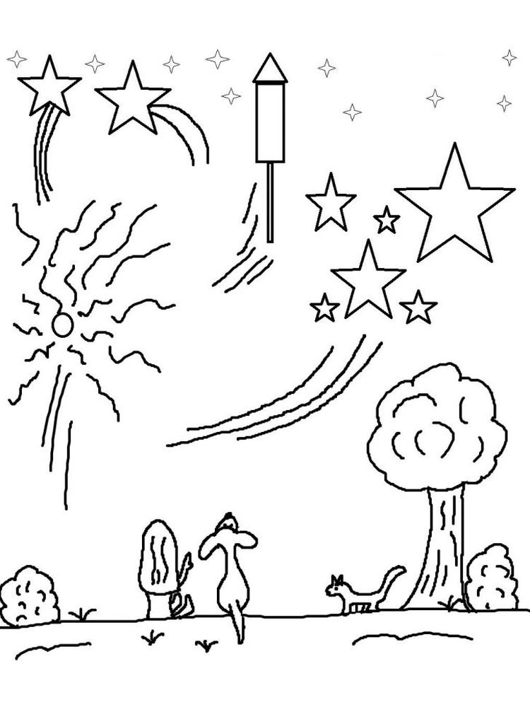 printable fireworks clipart coloring pages