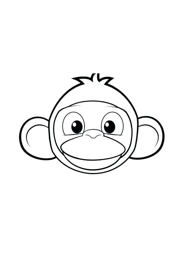 printable monkey face coloring page