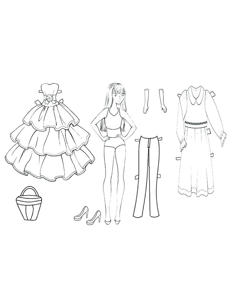 printable paper doll coloring page