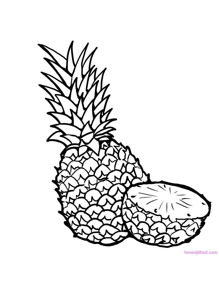 printable pineapple coloring page download free