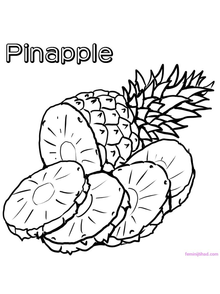 printable pineapple coloring page download
