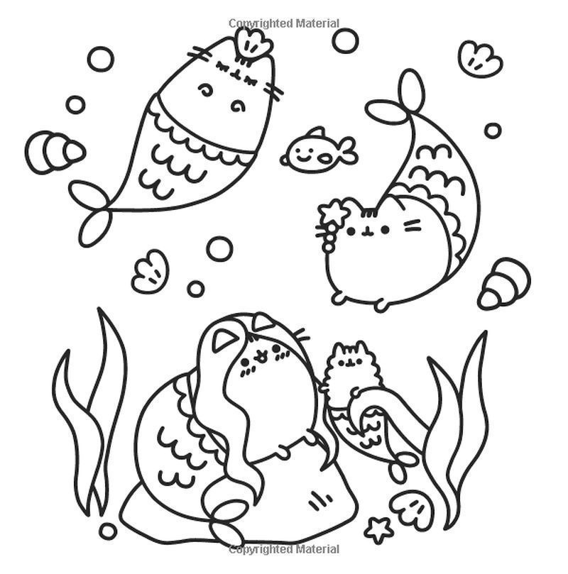 pusheen beach coloring pages