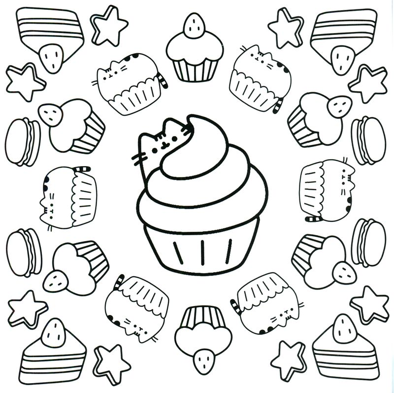 pusheen black and white coloring pages