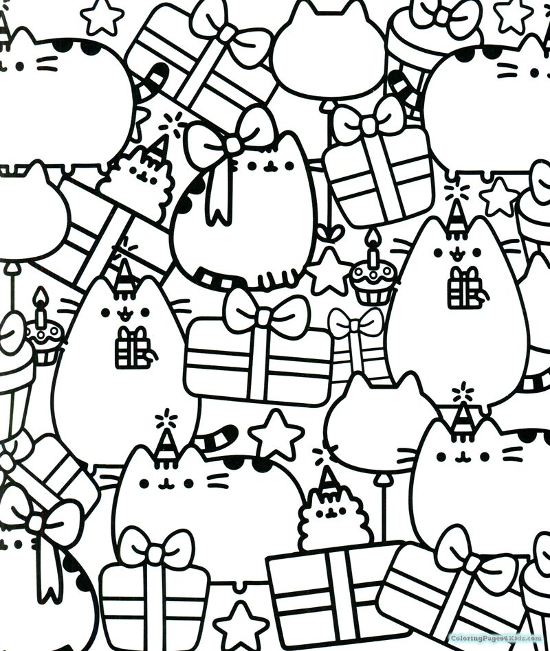 pusheen coloring pages summer