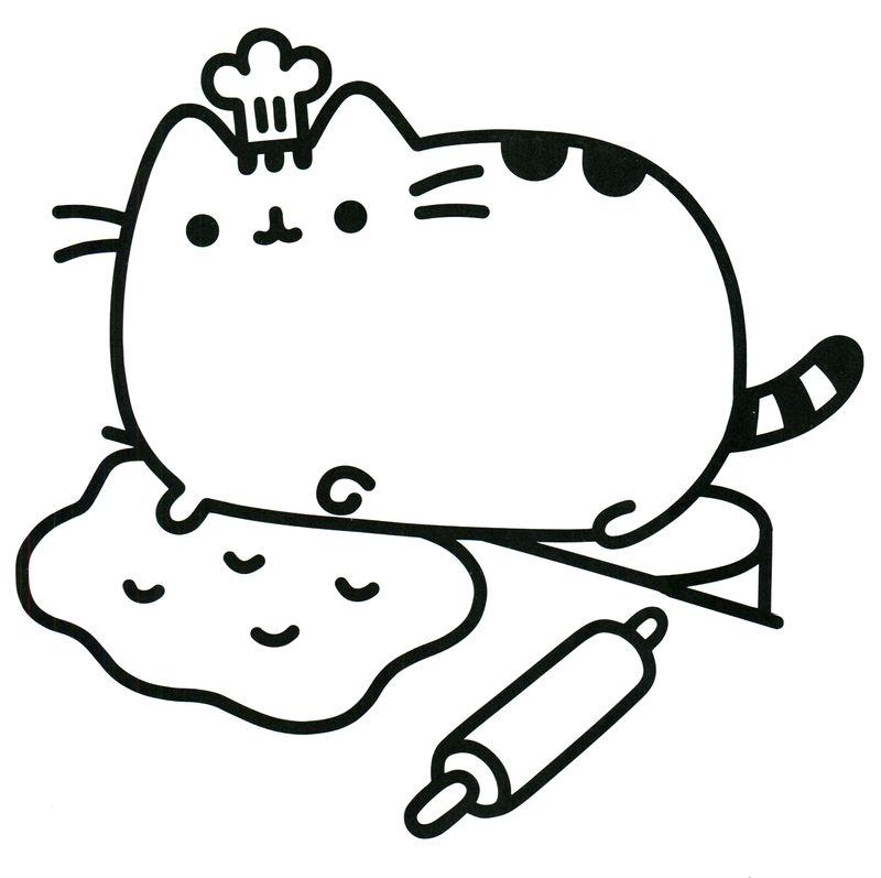 pusheen cooking coloring pages