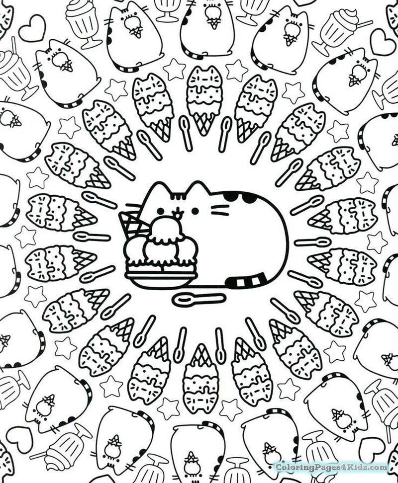 pusheen the cat coloring pages black and white