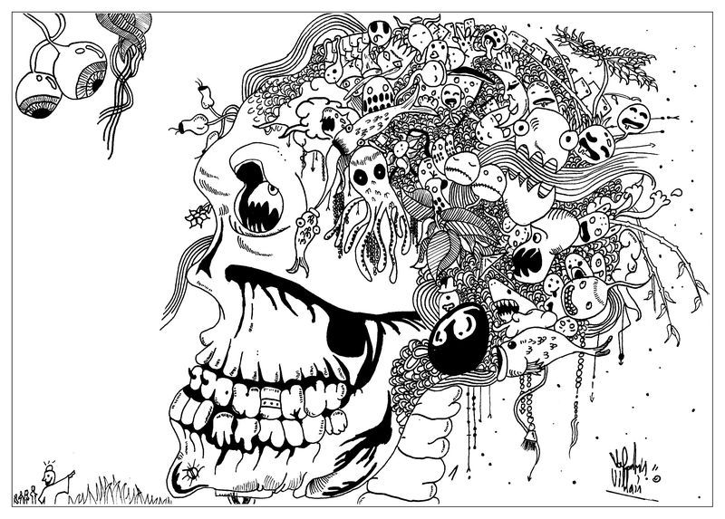 scary skull coloring pages