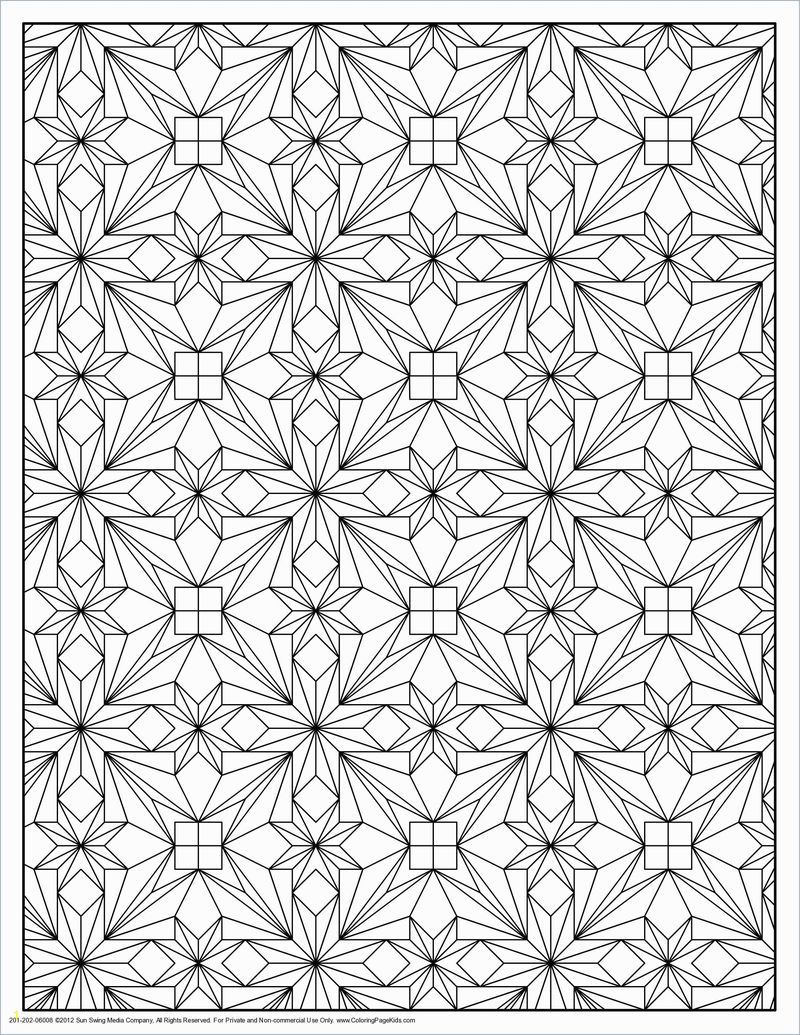 square geometric patterns coloring pages