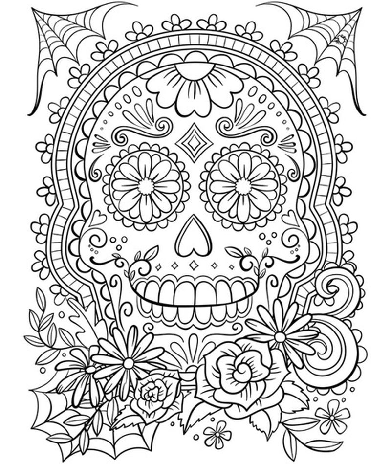sugar skull coloring pages easy