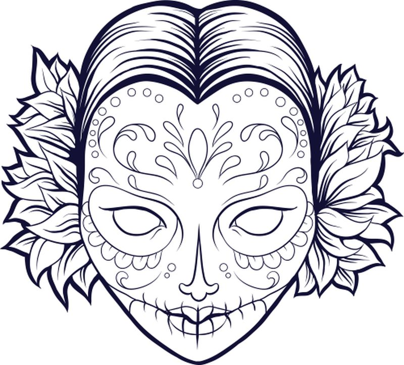 sugar skull coloring pages for girls