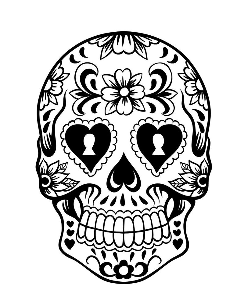 sugar skull coloring pages simple