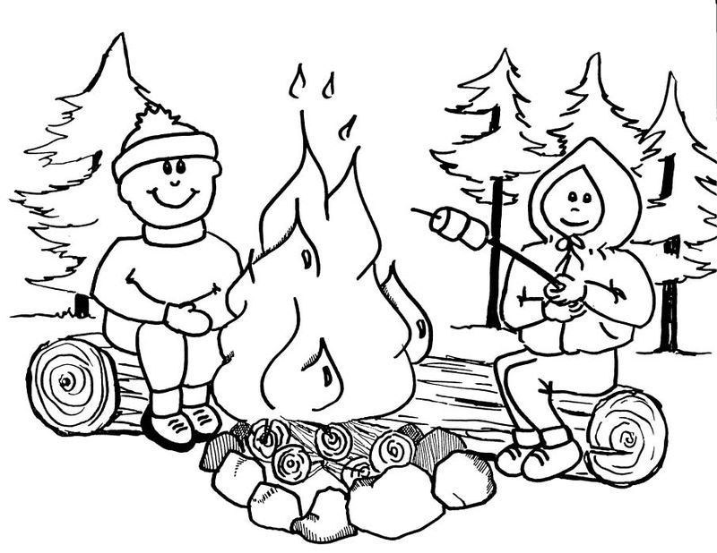 tent camping coloring pages