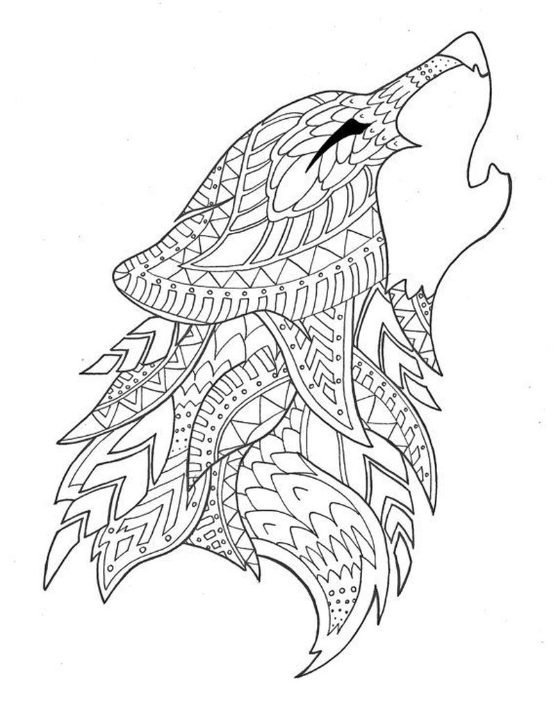 wolf head coloring pages pdf