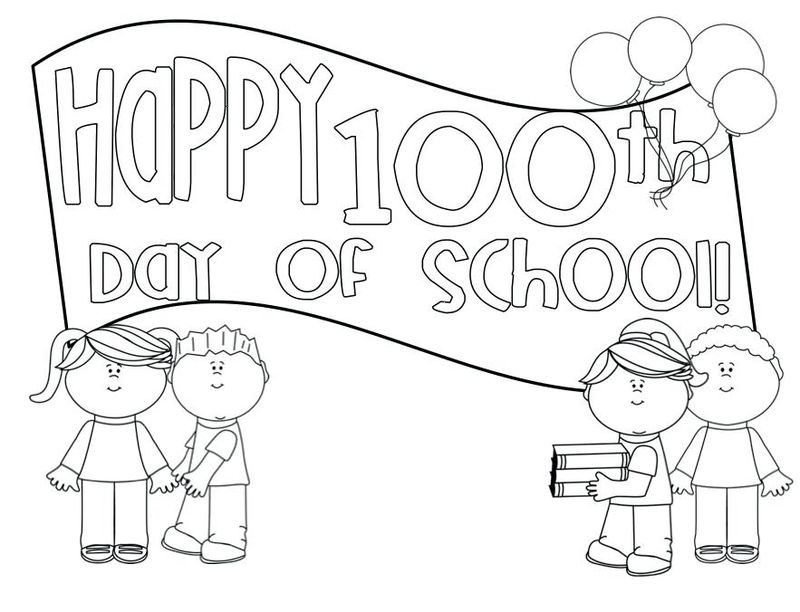 100 days of school coloring pages free