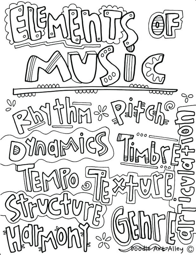 Adult Coloring Pages Music Pdf