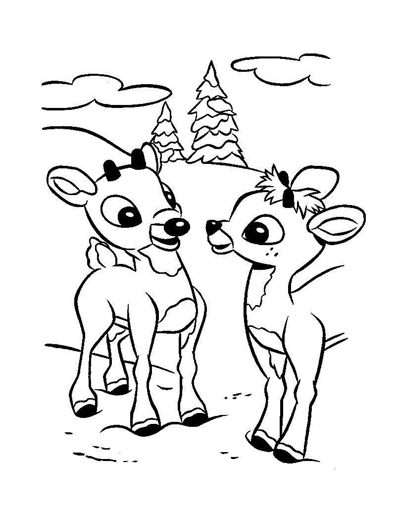 Christmas Coloring Pages Rudolph Hd