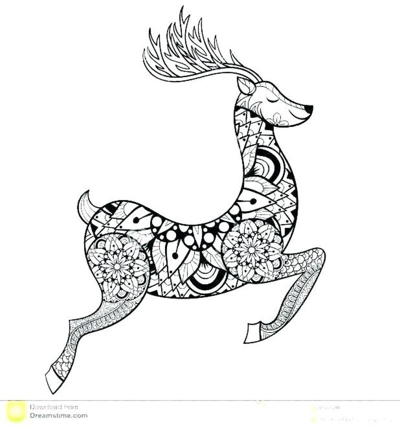 Coloring Pages Christmas Rudolph Print