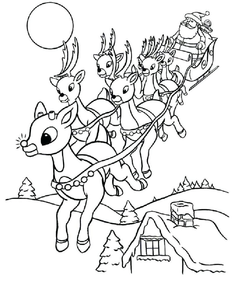Coloring Pages Of Rudolph The Reindeer Print