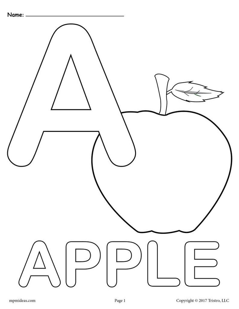 Letter A Coloring Pages For Preschoolers Printable