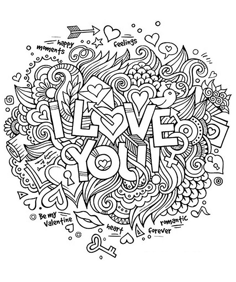 Printable Adult Coloring Pages Love