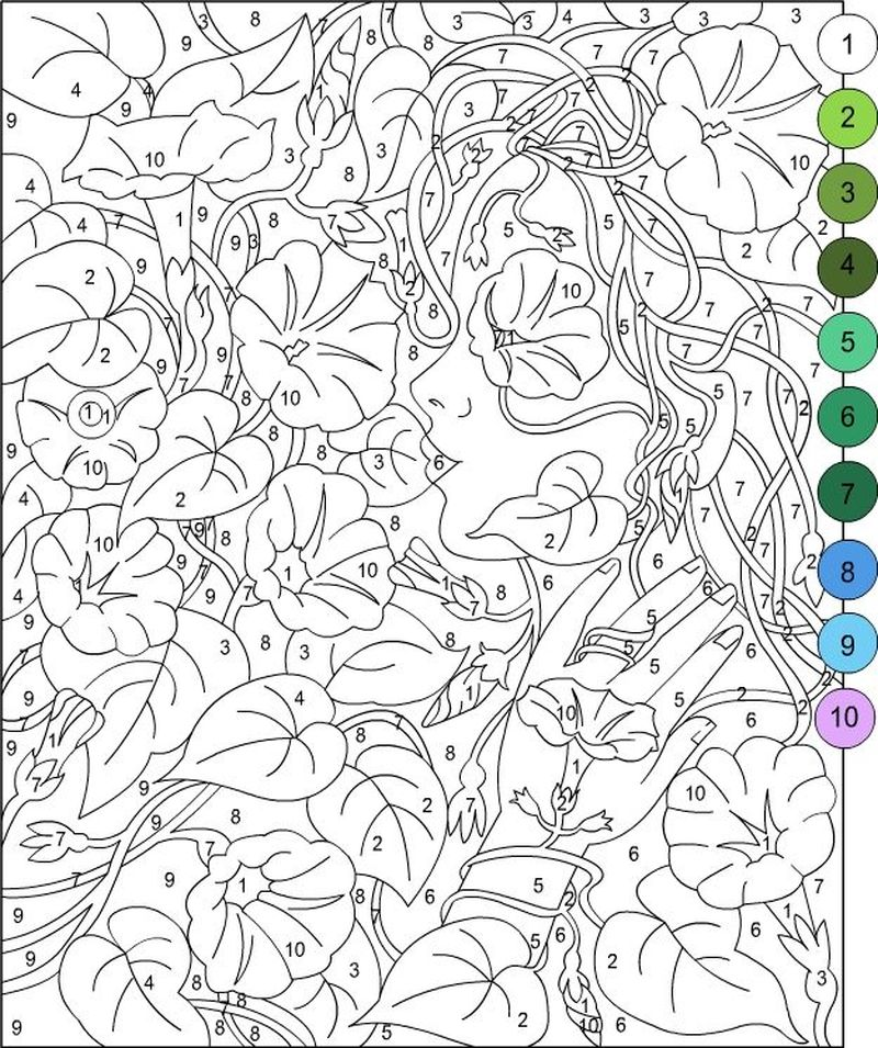 Printable Color By Number Christmas Tree Coloring Pages