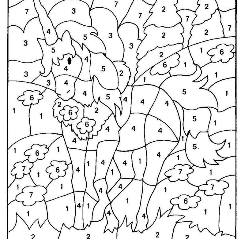 Printable Color By Number Coloring Pages For Kindergarten