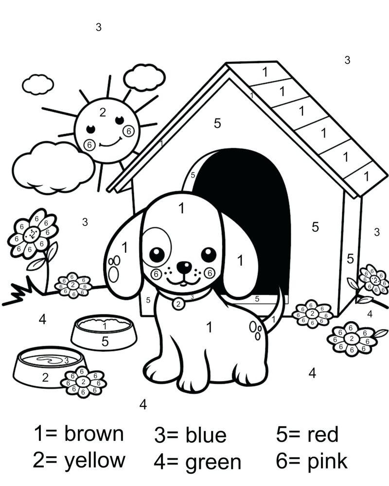 Printable Flower Color By Number Coloring Pages