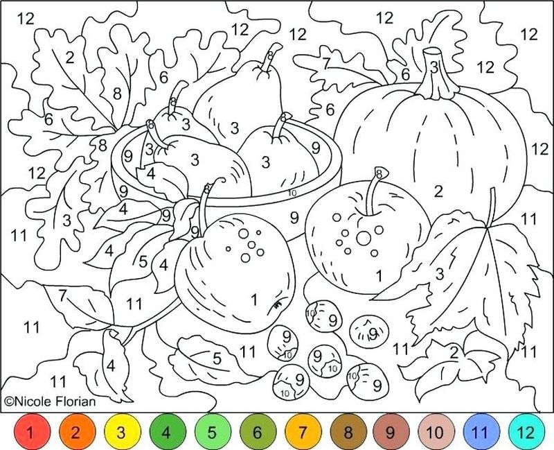 Printable Really Hard Color By Number Coloring Pages With Key