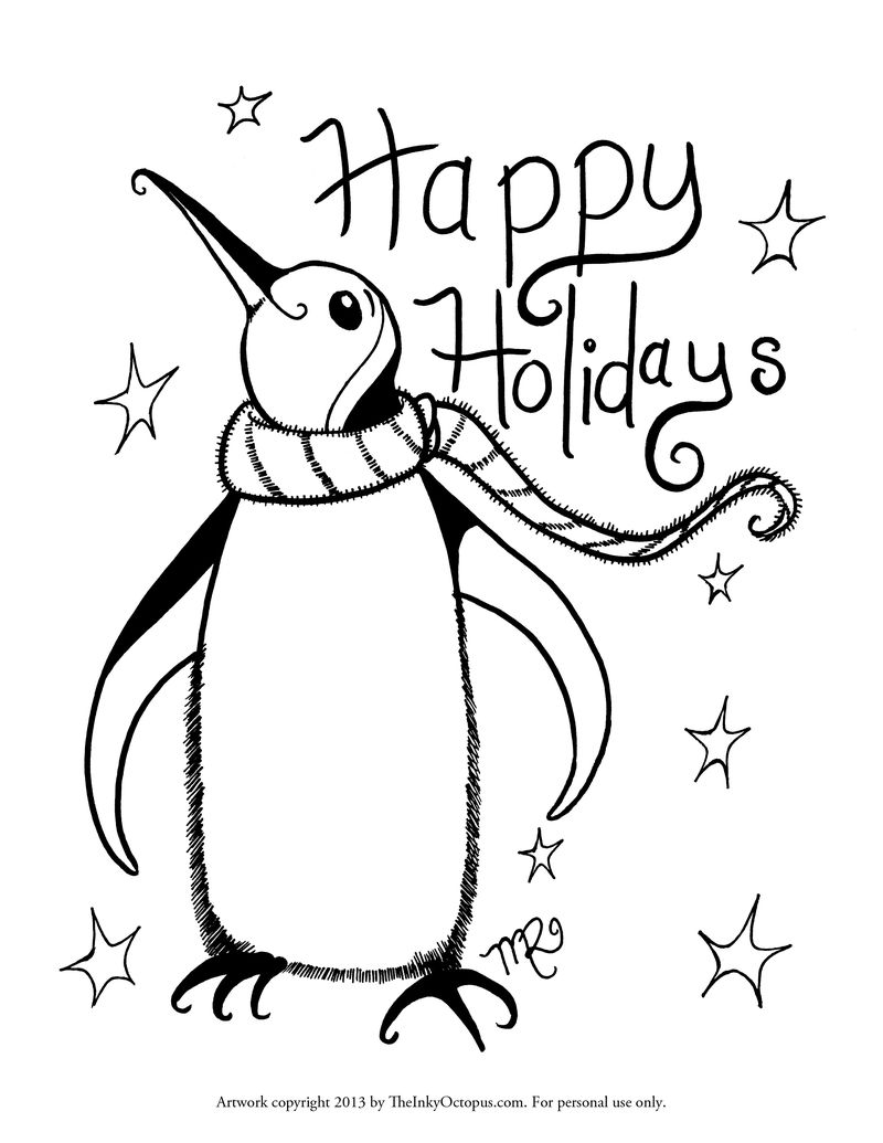 Winter Holiday Coloring Pages Printable Free