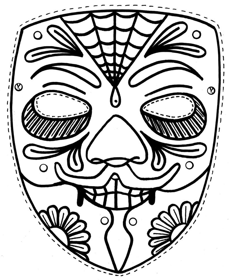 coloring page circus mask