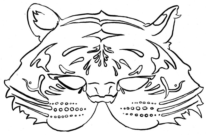 coloring page of a mask