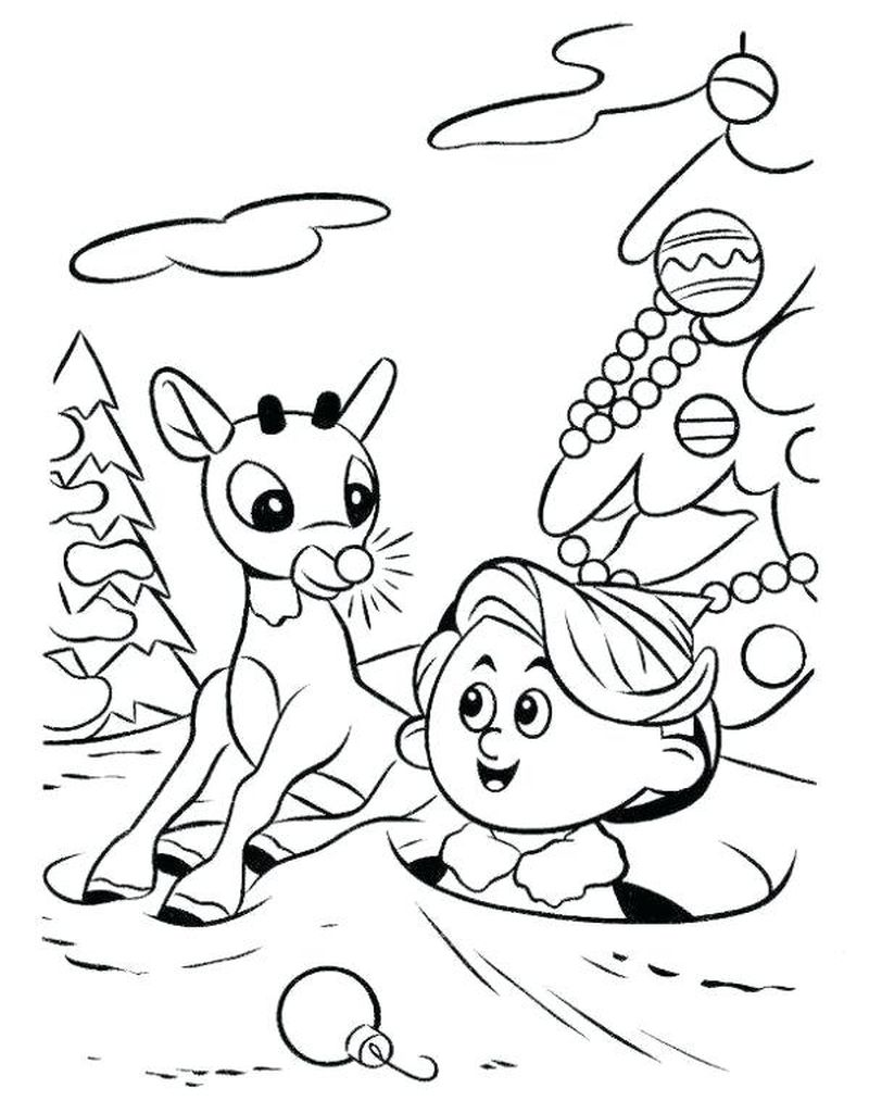 coloring pages for kids christmas rudolph