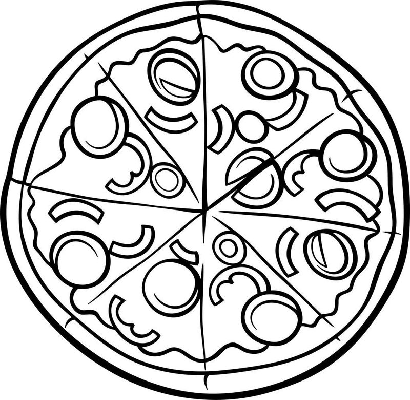 coloring pages of pizza toppings